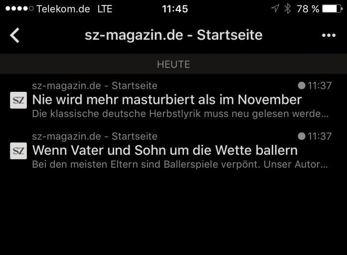Screenshot SZ-Magazin